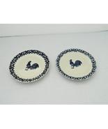 Folk Craft Tienshan  - 2 Bread/Small Plates – Sponge Blue Rooster  - $9.50