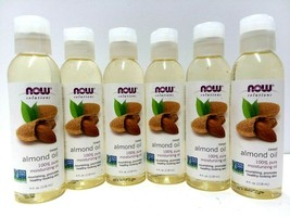 Lot of 6 NOW Sweet Almond Oil 100% Pure Moisturizing Oil, 4 Fl Oz EXP 02/22 - $21.84