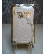 """Keepsake Bible Embroidered Cover and Ribbon Tie Closure White 3"""" X 5"""" - $15.00"""