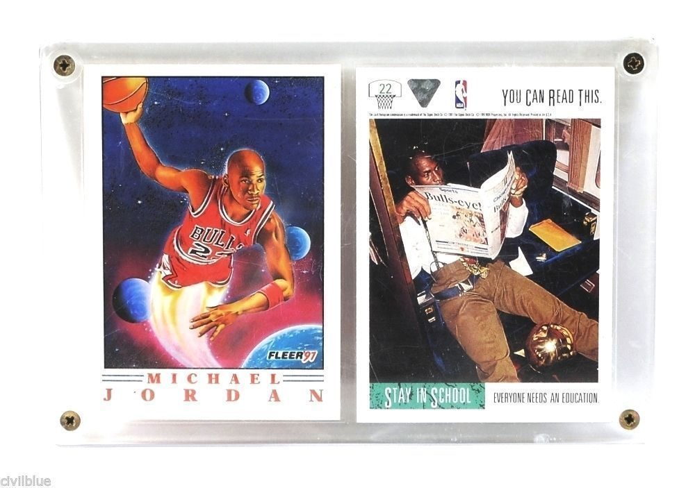 Sports Plaque 2 Cards Michael Jordan Stay in School '91 '92 NBA Upper Deck Fleer