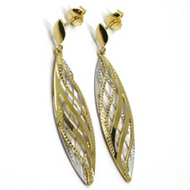 """18K YELLOW WHITE GOLD PENDANT EARRINGS WORKED WAVY DOUBLE OVAL LEAF 4.5cm, 1.8"""" image 2"""