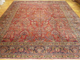 Red 12' x 15' Lilihan Semi-Antique Hand-Knotted Area Rug Floral Sarouk Rug - $7,068.00