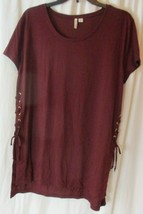 *CATO* Blouse Top*Size XL ruched side ties Maroon Short Sleeve  - $17.81