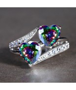 Romantic Twin Heart Cut Rainbow Fire Mystic Topaz Ring Sz 6 / 7/ OR 8 New