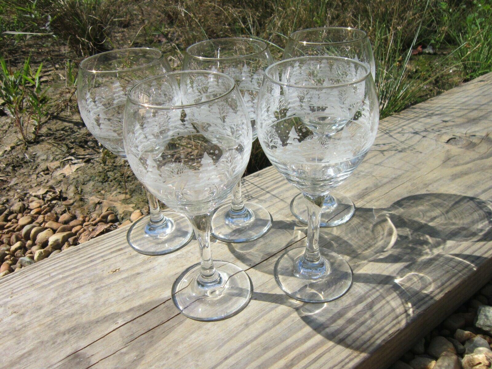 Arby's Winter Goblets, Set of 5 Vintage 1980s Wine Glasses