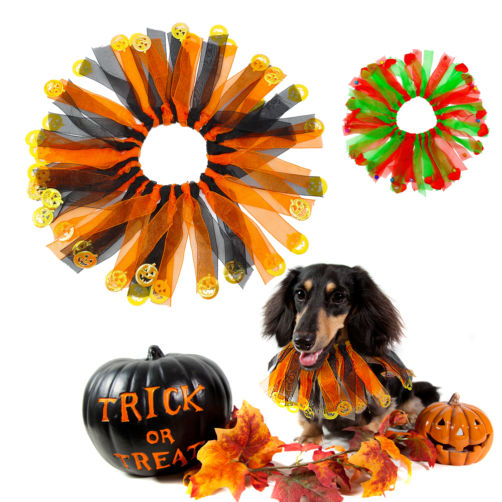Accessories halloween christmas collar dogs cats scarf costume with bell pumpkin pet accessories