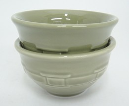 Longaberger Pottery Woven Traditions Sage Green 2 Dessert Bowls Very Good - $19.79