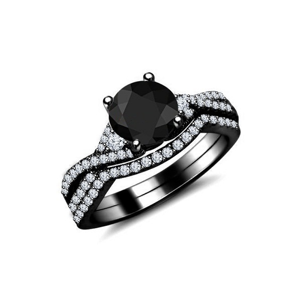 Round Cut CZ 14k Black Gold Finish 925 Sterling Silver Bridal Wedding Ring Set image 1