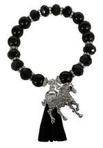 Horse Horseback Riding Black Glass & Stone Bead Tassel Stretch Bracelet Jewelry - $15.83