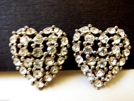 VTG Silver Tone Clear Crysatl  Rhinestones Large Heart clip on Earrings - $30.89