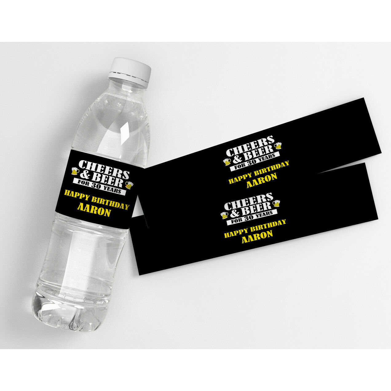 Cheers and Beers (Any Age) Birthday Personalized Water Bottle Labels