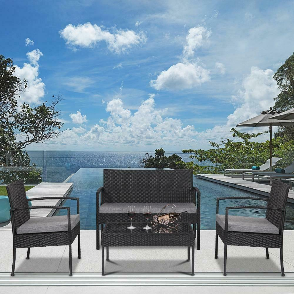 (Ships From USA) 4 PCS Outdoor Patio Rattan Wicker Furniture Set Table Sofa Cush