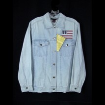 Denim & Co. Embroidered Jean Jacket S NEW  Stars Stripes Flag Patriotic - $17.82