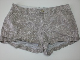 W13613 Womens OLD NAVY Tan/White Print Cotton CASUAL SHORTS Summer sz 6 - $21.22