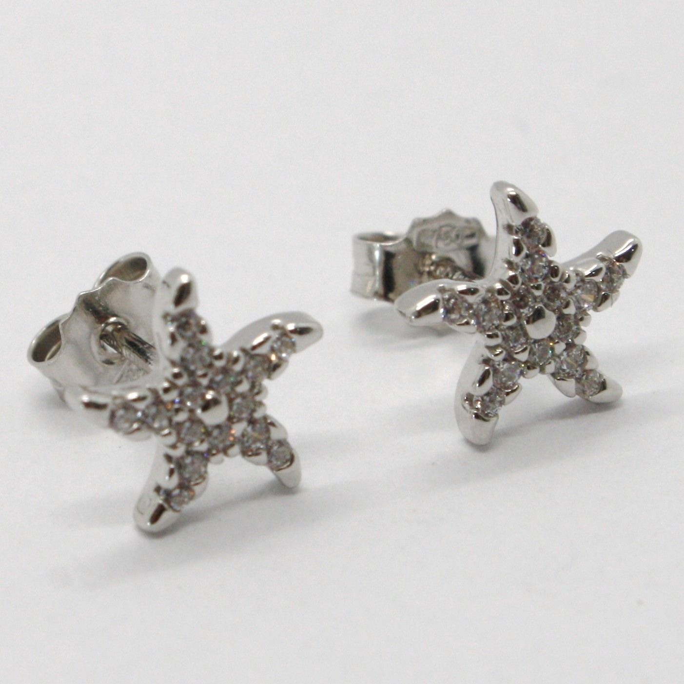 18K WHITE GOLD EARRINGS, STAR STARFISH WITH ZIRCONIA, LENGTH 9 MM, MADE IN ITALY