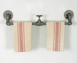Industrial Farmhouse Pipe Metal Towel Rack Holder with Valve Decor - $37.61