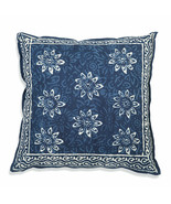 Farmhouse BLUE BELL COTTON THROW PILLOW Country White Floral Sofa Cushio... - £28.34 GBP