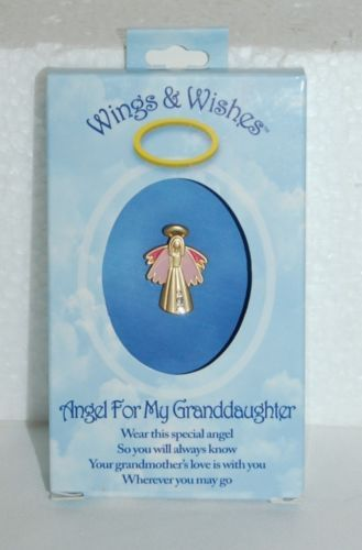 DM Merchandising Wings Wishes Granddaughter Angel Pink Gold Colored Angel