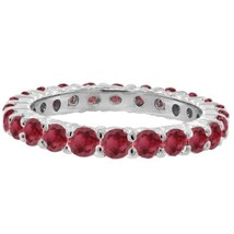 1CT Prong-Set Ruby Eternity Ring 14K White Gold - $594.96+