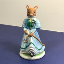 Franklin Mint Woodhouse Mouse Figurine Porcelain Mice 1985 Vintage Winsome Blue - $19.75