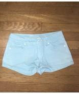 * Delias Womens Denim Shorts Sz 3 / 4 light aqua Blue Stretch Morgan - $11.88