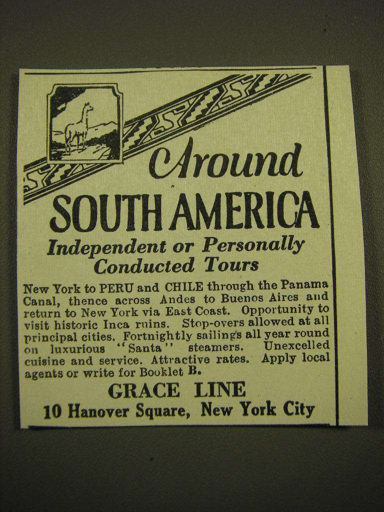 Primary image for 1924 Grace Line Cruise Ad - Around South America independent or personally