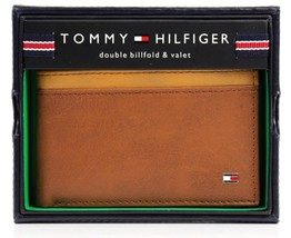 NEW TOMMY HILFIGER MEN'S LEATHER DOUBLE BILLFOLD ID WALLET HONEY TAN 31TL130014