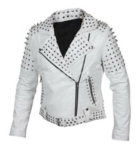 Customized Women's White Brando Style Belted Leather Silver Spike White ... - $289.99+