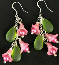 Pink Handmade Flower Dangle Earrings Green Sea Glass Leaves Orchid  - $24.74