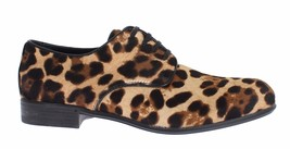 Dolce & Gabbana Women Brown Leopard Leather Hair Broques Shoes EU37.5/US7 - $278.60