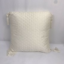 Waterford Throw Pillow Beaded Square 18 by 18 Ivory with Tassels - $24.26