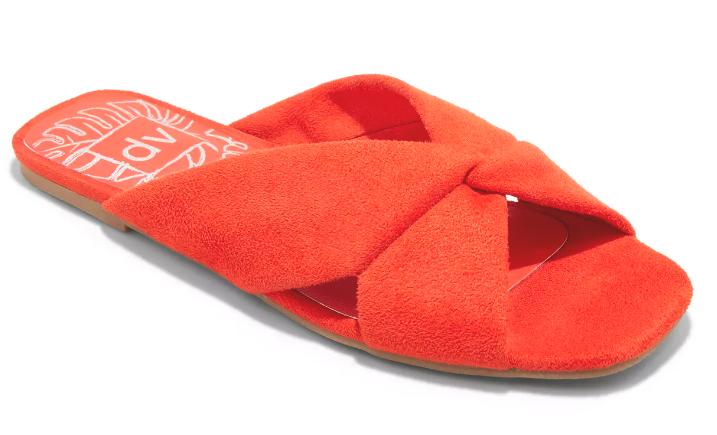 Damen dv Rot Addie Microsuede Verknotet Slide Sandalen