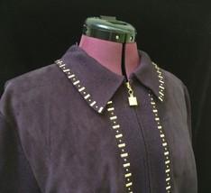 St John Marie Gray Santana Knit PURPLE Zip Blazer Jacket w Pailettes M 10 8 - $172.98
