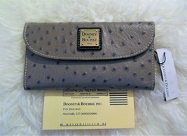 NWT Dooney & Bourke Grey Gray Ostrich Embossed Leather Continental Clutc... - $98.99