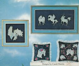 Vtg Cross Stitch Needlepoint Unicorn Pegasus Collection Candi Martin Pattern - $13.99