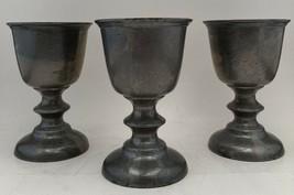 "(3) Vintage Pewter Goblet Set Duratale By Leonard 5"" Tall Set Of 6 Wine ... - $24.52"
