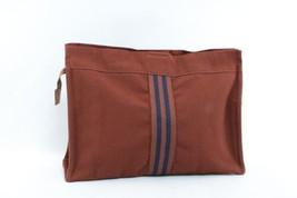 HERMES Cotton Fourre Tout Clutch Bag Brown Auth 8076 - $130.00