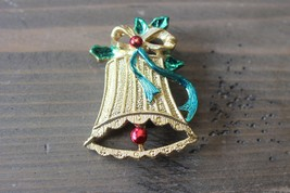 Gold Tone Enamel Jingle Bell Christmas Brooch - $5.93