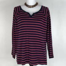 Chaps Sport Womens Knit Top Blue Pink Striped Long Sleeve Blouse Shirt Plus 2X - $8.79