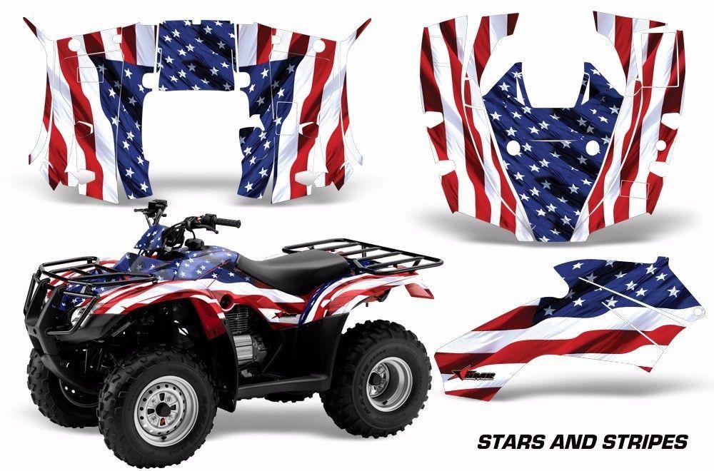ATV Decal Graphics Kit Quad Wrap For Honda FourTrax Rincon 2006-2018 USA FLAG