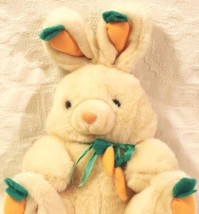 Easter Bunny Rabbit Soft Tan Stuffed Animal Toy Carrots and Bow - $18.80