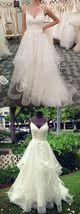 Spaghetti Strap White Lace Wedding Dress, Floor Length Bridal Gowns Plus... - $170.00