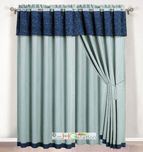 4-P Quilt Vineyard Floral Leaves Curtain Set Light Blue Navy Valance Dra... - $40.89