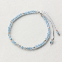 Small Beads Bracelets For Women Handmade Sea Blue Natural Stone 925 Ster... - $20.64