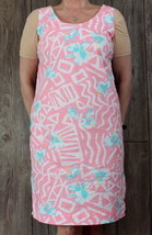 Hilo Hattie Dress L size Pink Blue White Floral Tank Vacation Hawaii Lig... - $18.26