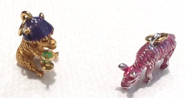 Joan Rivers Noah's Ark Donkeys Pair Pink Gold Enameled Set Charms Extend... - $60.00