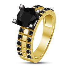Vintage Women Black Diamond 14K Yellow Gold GP Wedding Promise Anniversary Ring - $71.98