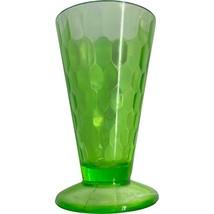Vintage Deco Jeannette Glass Green Hex Optic Footed Ice Tea Tumbler '30s uranium - $19.99