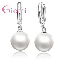 Trendy Best Fashion One Pair Pearl Earring 925 Sterling Silver  Pearl Ea... - $7.91