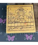JRL Design Co. Hello Friend Rubber Stamp Woman Garden Flowers #I46 - $5.69